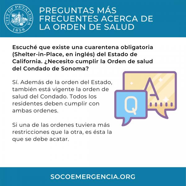 health order faq - in spanish