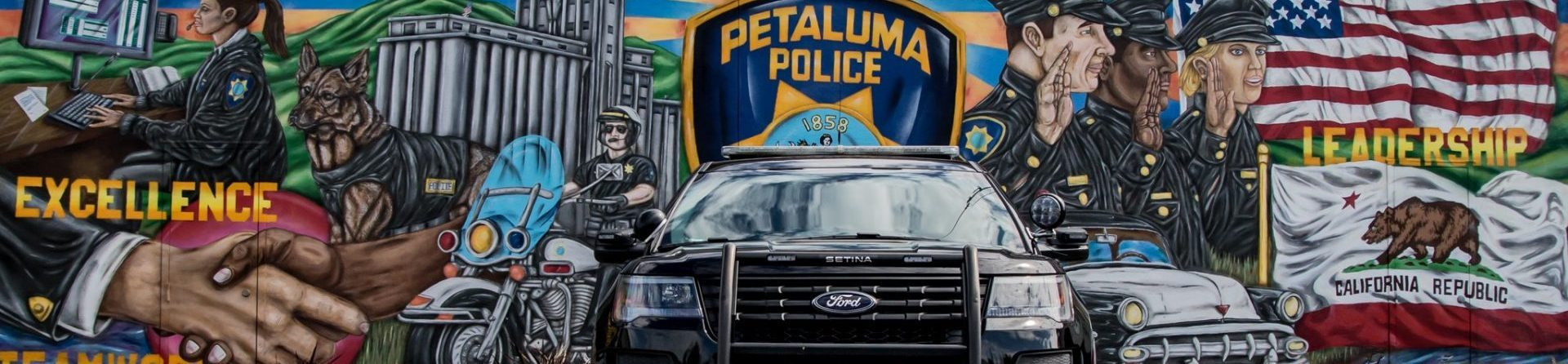 police mural with patrol car