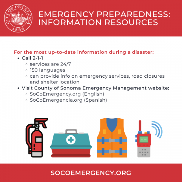 disaster resource information graphic in english