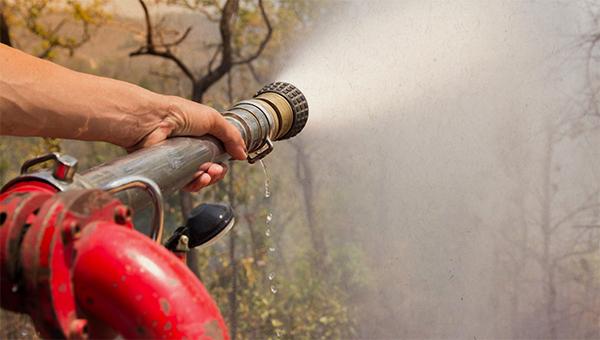 fire hose spraying brush