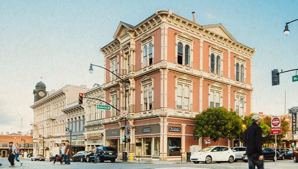 image of downtown petaluma corner