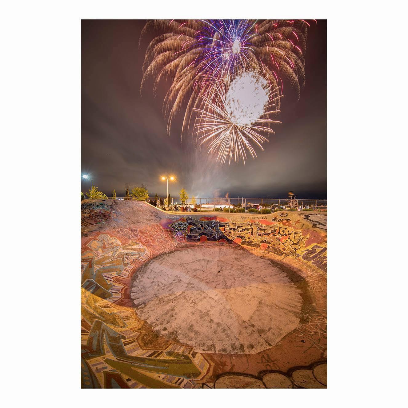 fireworks over skate park