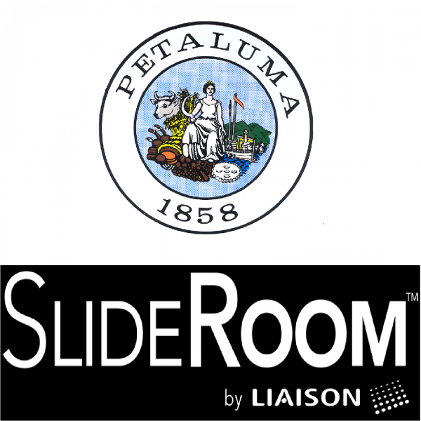 city of petaluma logo with slideroom logo