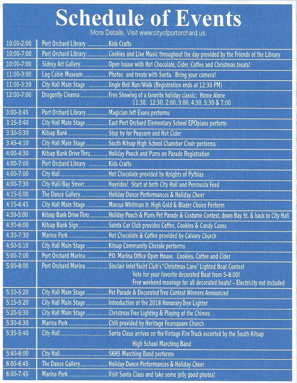 Festival of Chimes and Lights Schedule