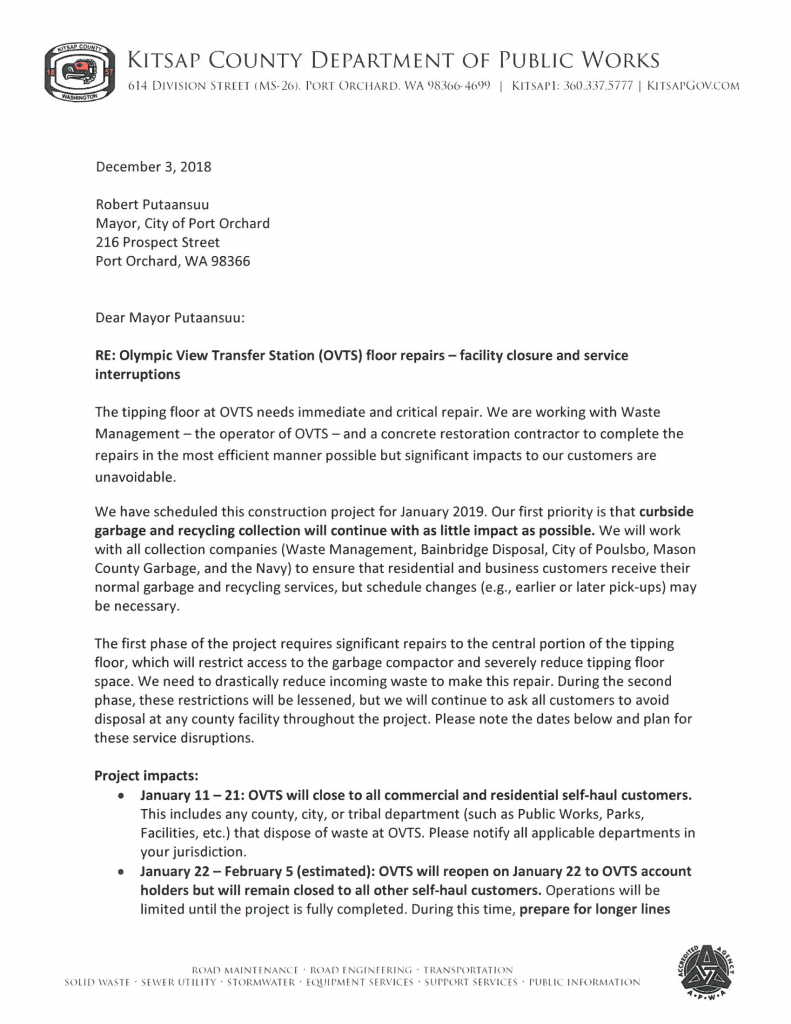 Page 1 of Kitsap County's letter to City of Port Orchard regarding the Olympic View Transfer Station