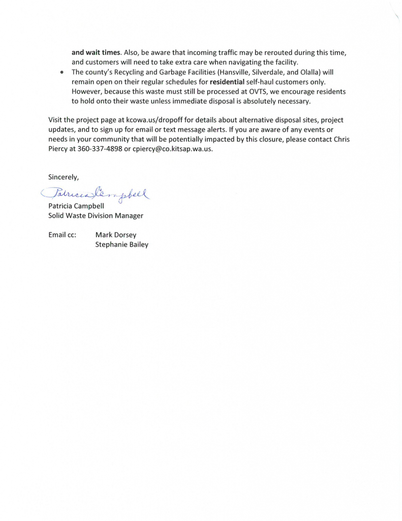 Page 2 of letter from Kitsap County to the City regarding the Olympic View Transfer Station