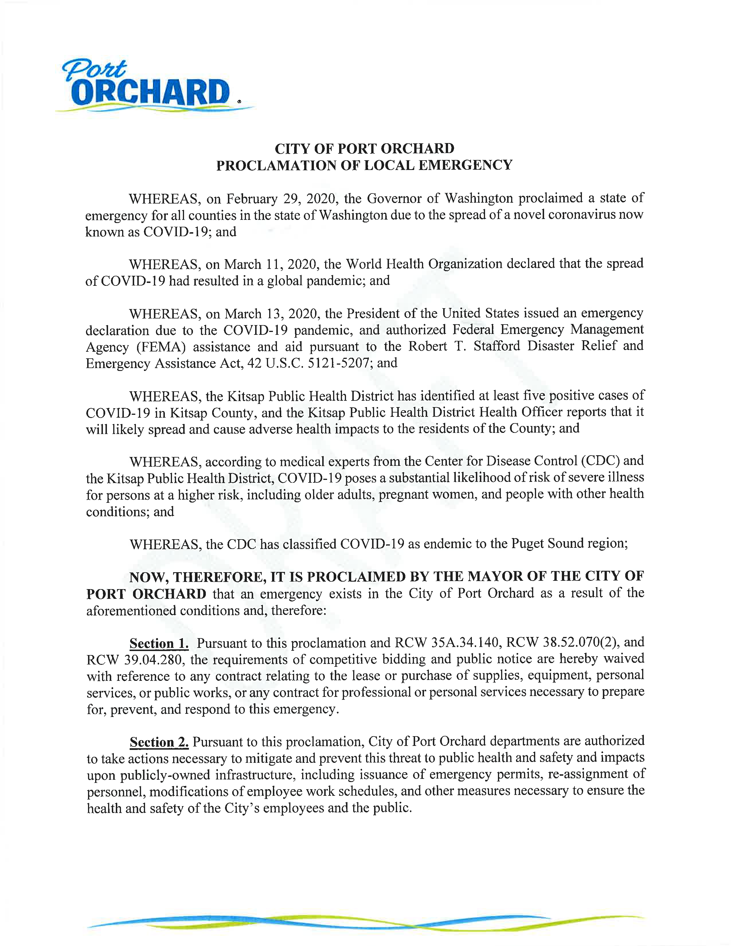 Emrgency proclamation page 1