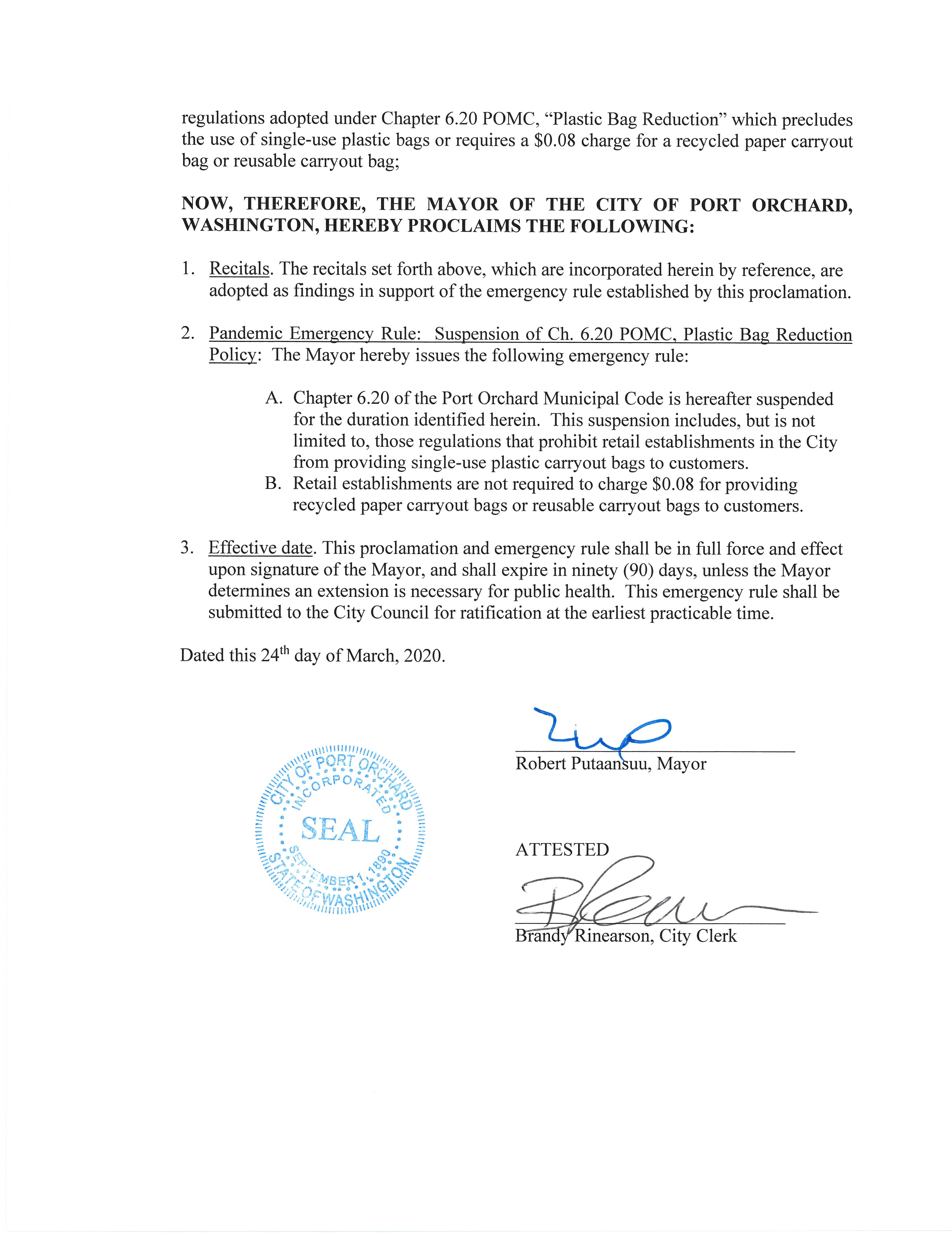 Proclamation page 2 temp bag bag suspension