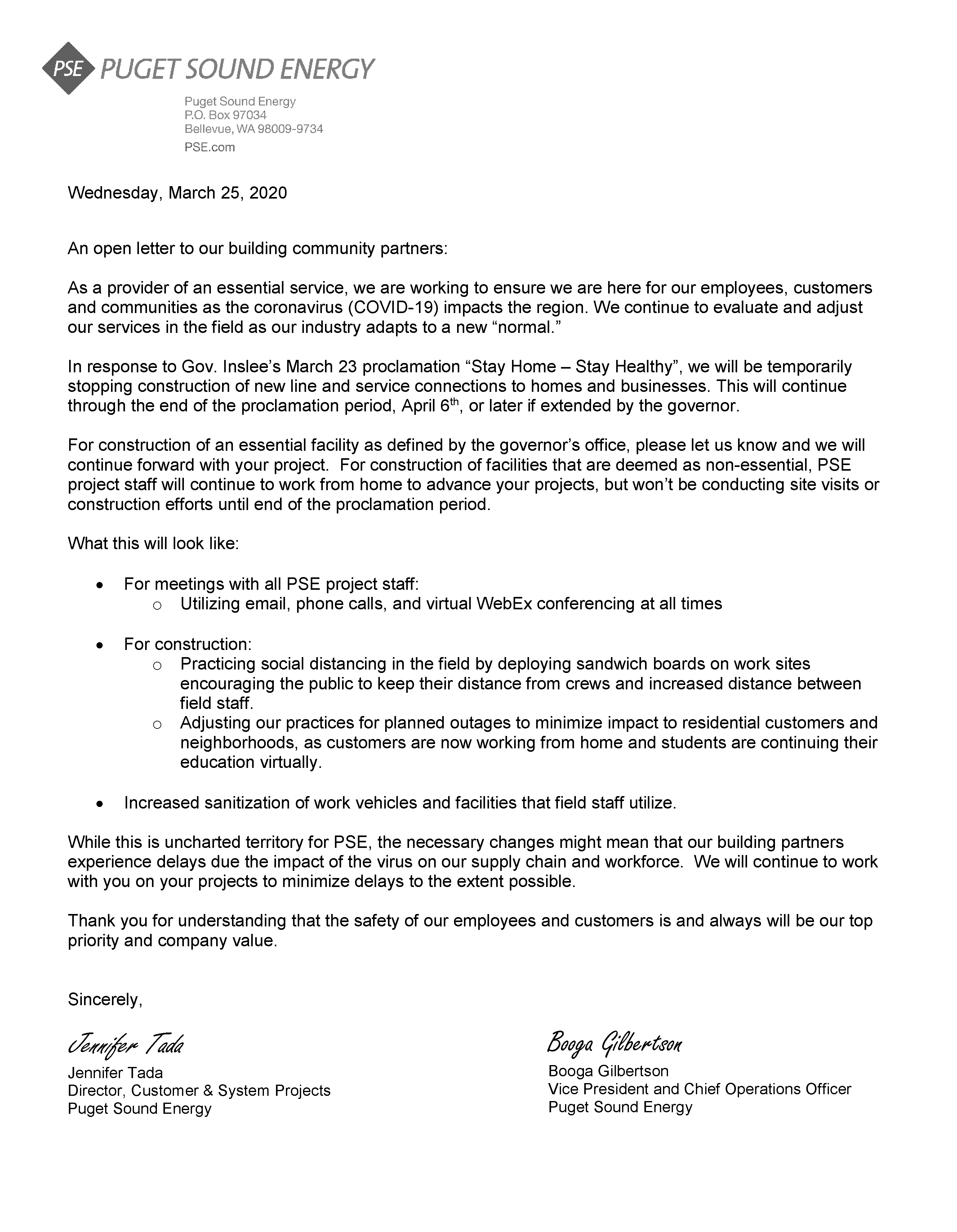PSE letter to building community