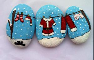 rock painting santa clothes
