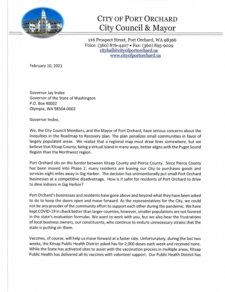 Letter to Inslee page 1