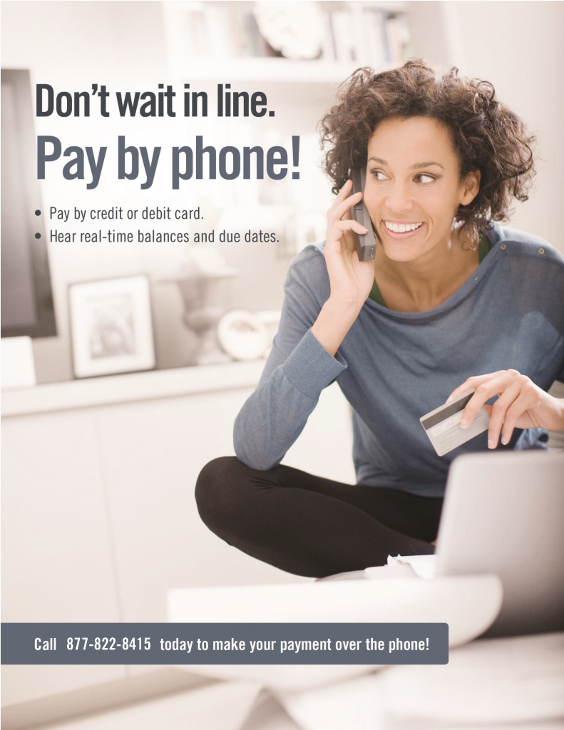 pay utilities over the phone flyer