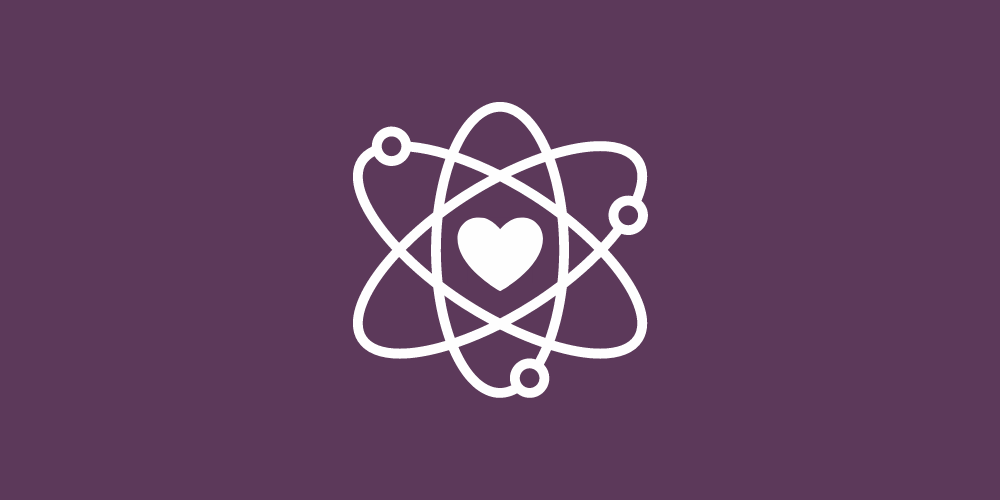 atom with a heart