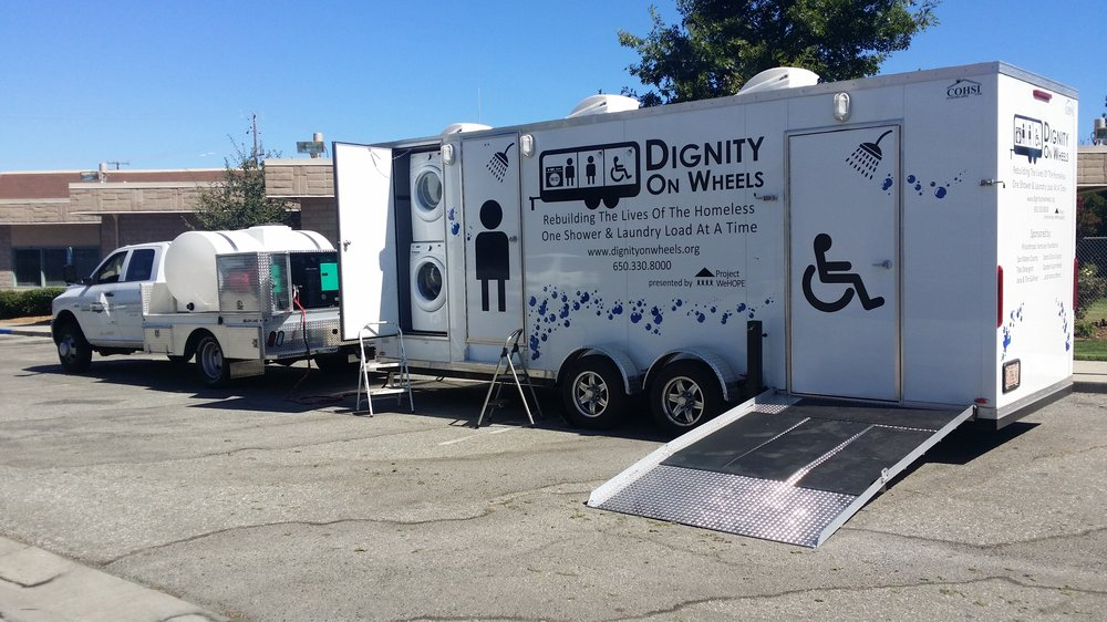 Dignity on Wheels' mobile shower and laundry unit in Sunnyvale, CA
