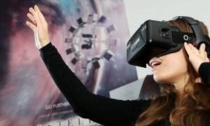 Photo of person wearing Oculus Rift virtual reality headset