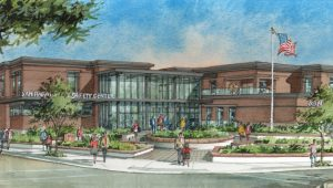 Watercolor rendering of Public Safety Center