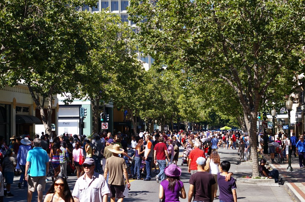 A busy scene in downtown Palo Alto.