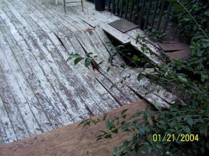 damaged deck