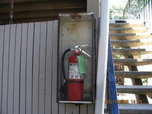 properly installed fire extinguisher