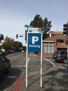 Downtown parking signs