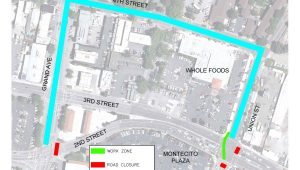 Closure and detour at Second and Third Street