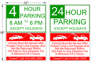 East San Rafael time-limited parking signage example