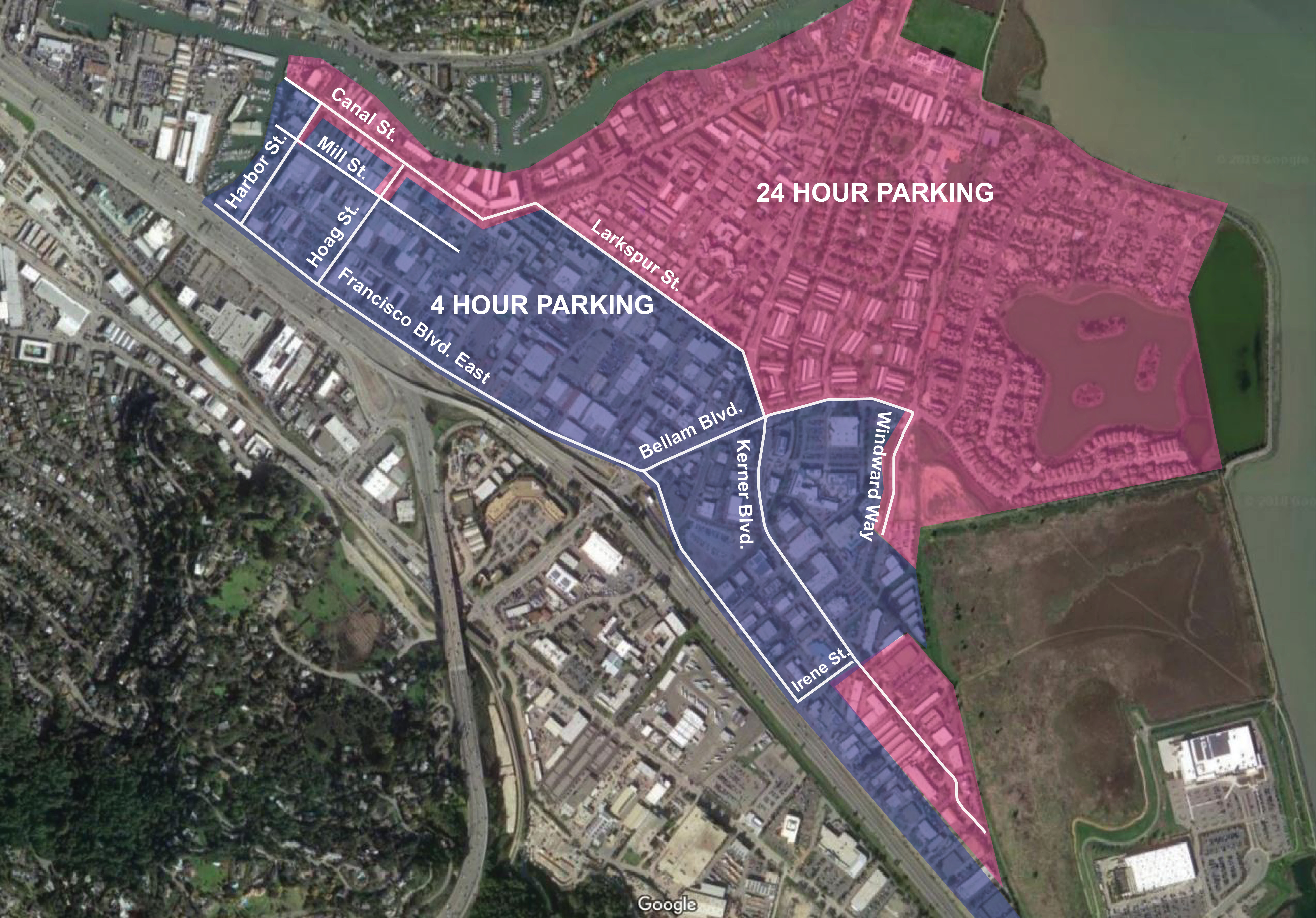 Map of residential and commercial parking zones
