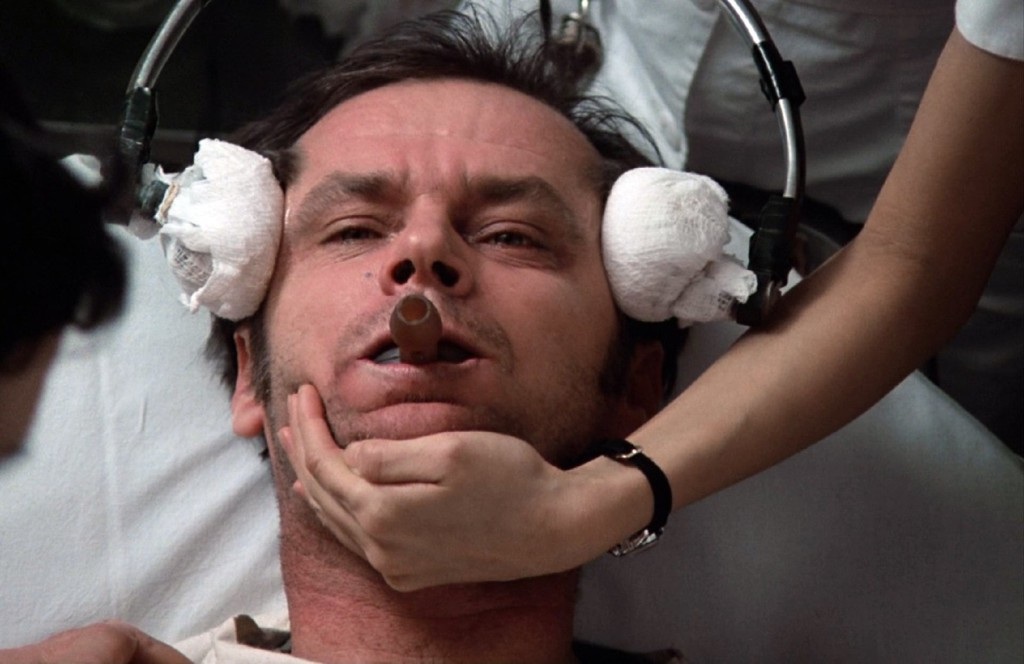 Jack Nicholson receiving electroconvulsive therapy