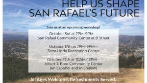 """Image depicts a view of the Marin Civic Center from a hiking trail in North San Rafael. The title reads """"Help Us Shape San Rafael's Future"""" and meeting times are given (also provided in as text in the body of the post). At the bottom reads: """"All ages welcome. Refreshments served."""""""