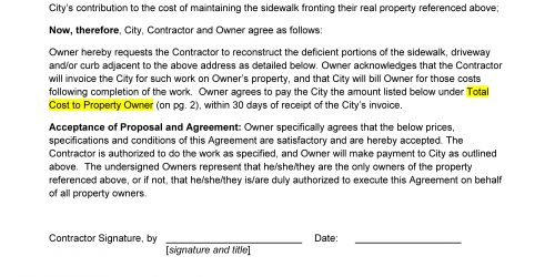 Agreement for sidewalk work page 1