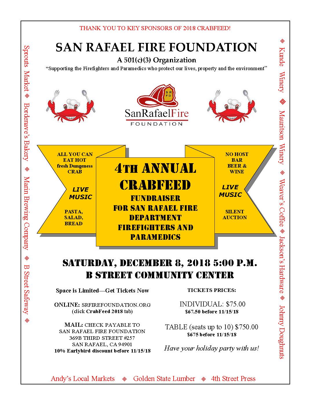 San Rafael Fire Foundation Crab Feed Flier