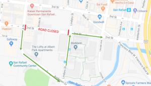 PG&E 2nd St. Closure Detour Map