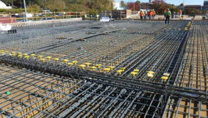 layout of first floor rebar and beams in preparation for concrete