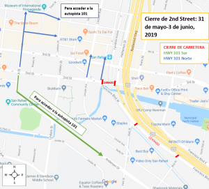 SR 2nd Street Closure Detour Map_Spanish