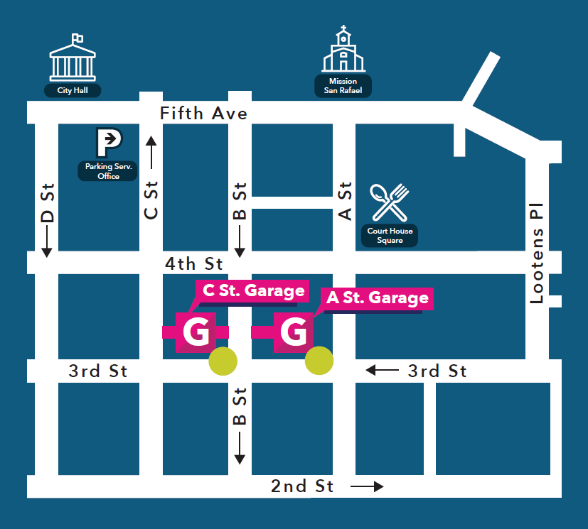 A Street and C Street Garage mini map