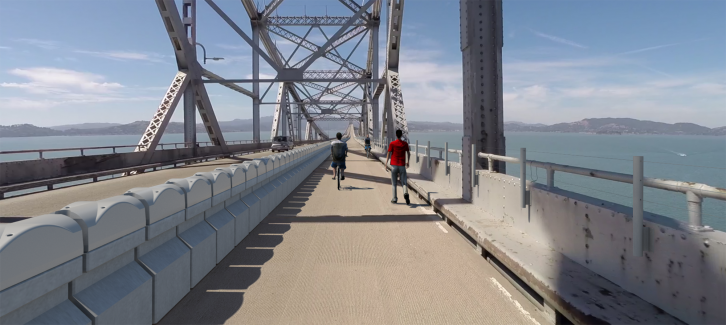 Rendering of planned Richmond-San Rafael Bridge bicycle-pedestrian path. Photo courtesy of MTC