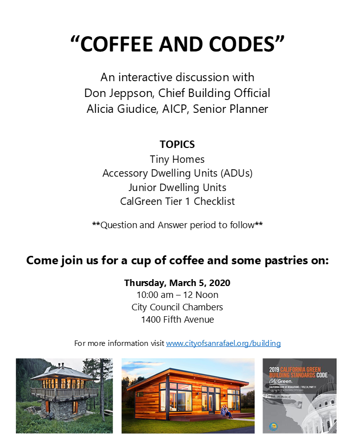 Coffee and Codes ADU flyer