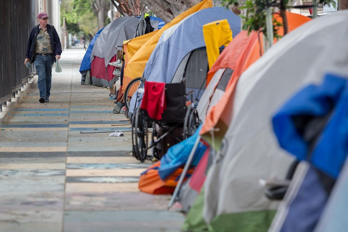 Tents on sidewalk
