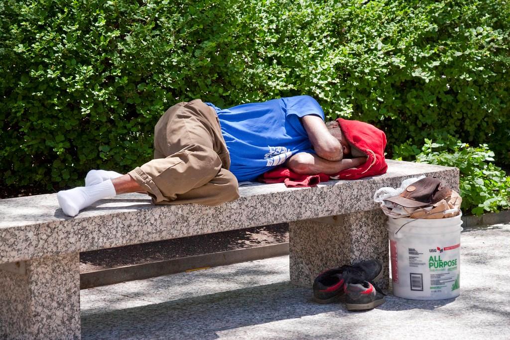 Sleeping on bench