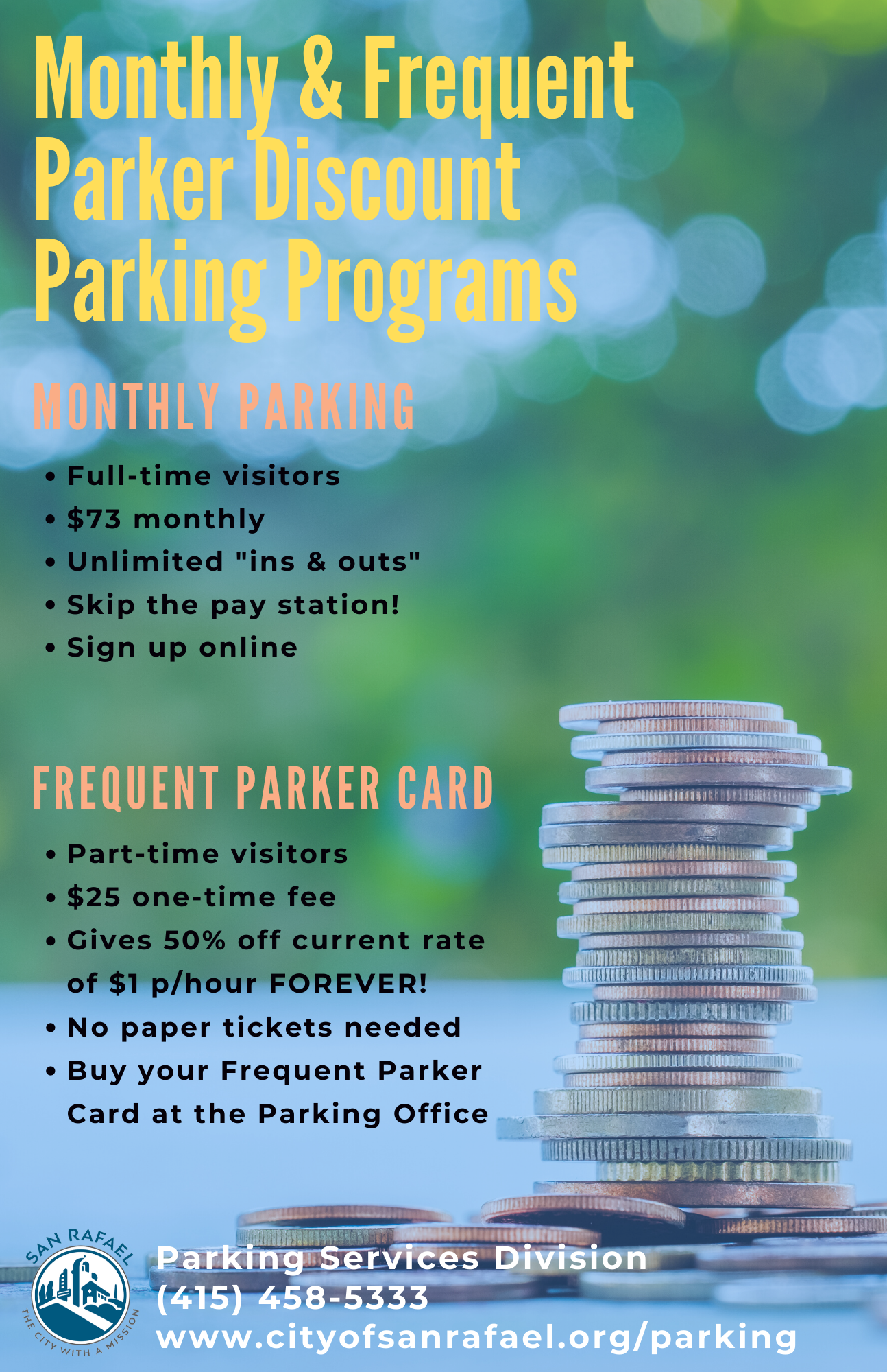 Monthly Frequent Parker Discounted Parking Programs Poster Apr 2020