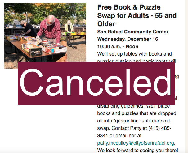 Older Adults Book Swap - Canceled