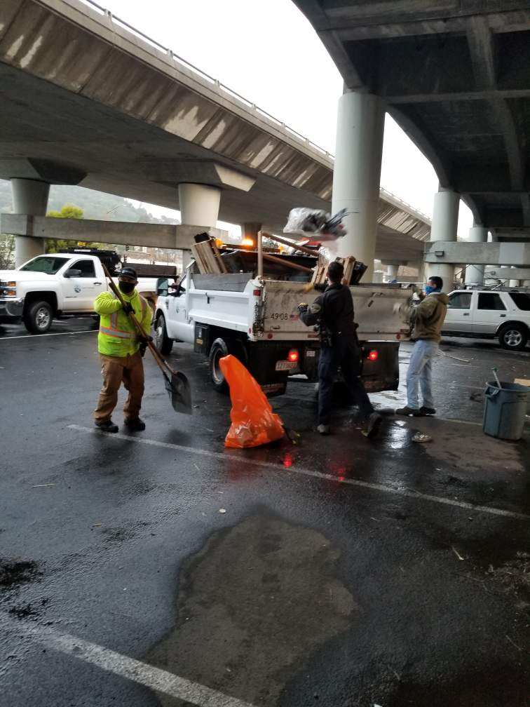 Streets Division assists with CalTrans viaduct clean up