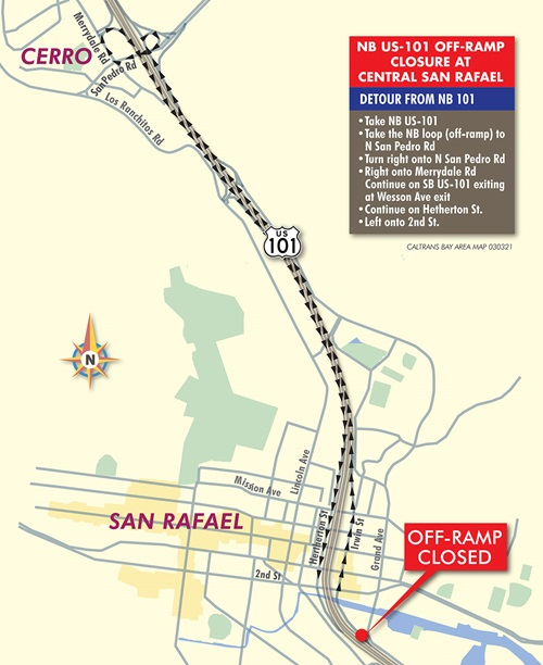 Central San Rafael Detour Map for Caltrans 101 NB Bridge Replacement project