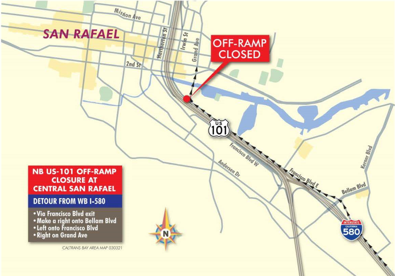 Detour directions for first closure - Caltrans 101 NB Central San Rafael Off-Ramp Bridge Replacement project