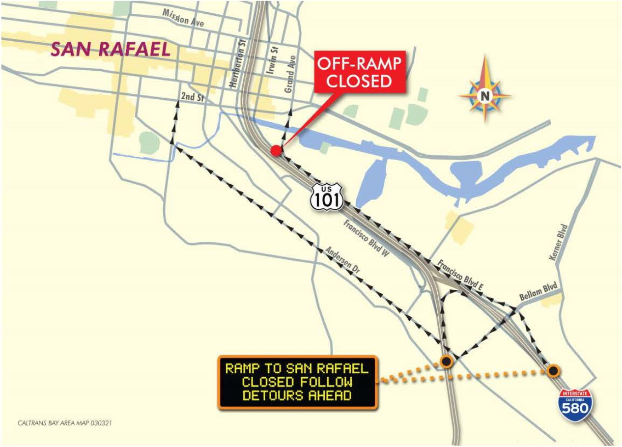 Detour map for first closure - Caltrans 101 NB Central San Rafael Off-Ramp Bridge Replacement project