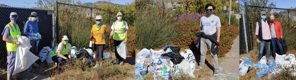 cleanup volunteers with bags of trash