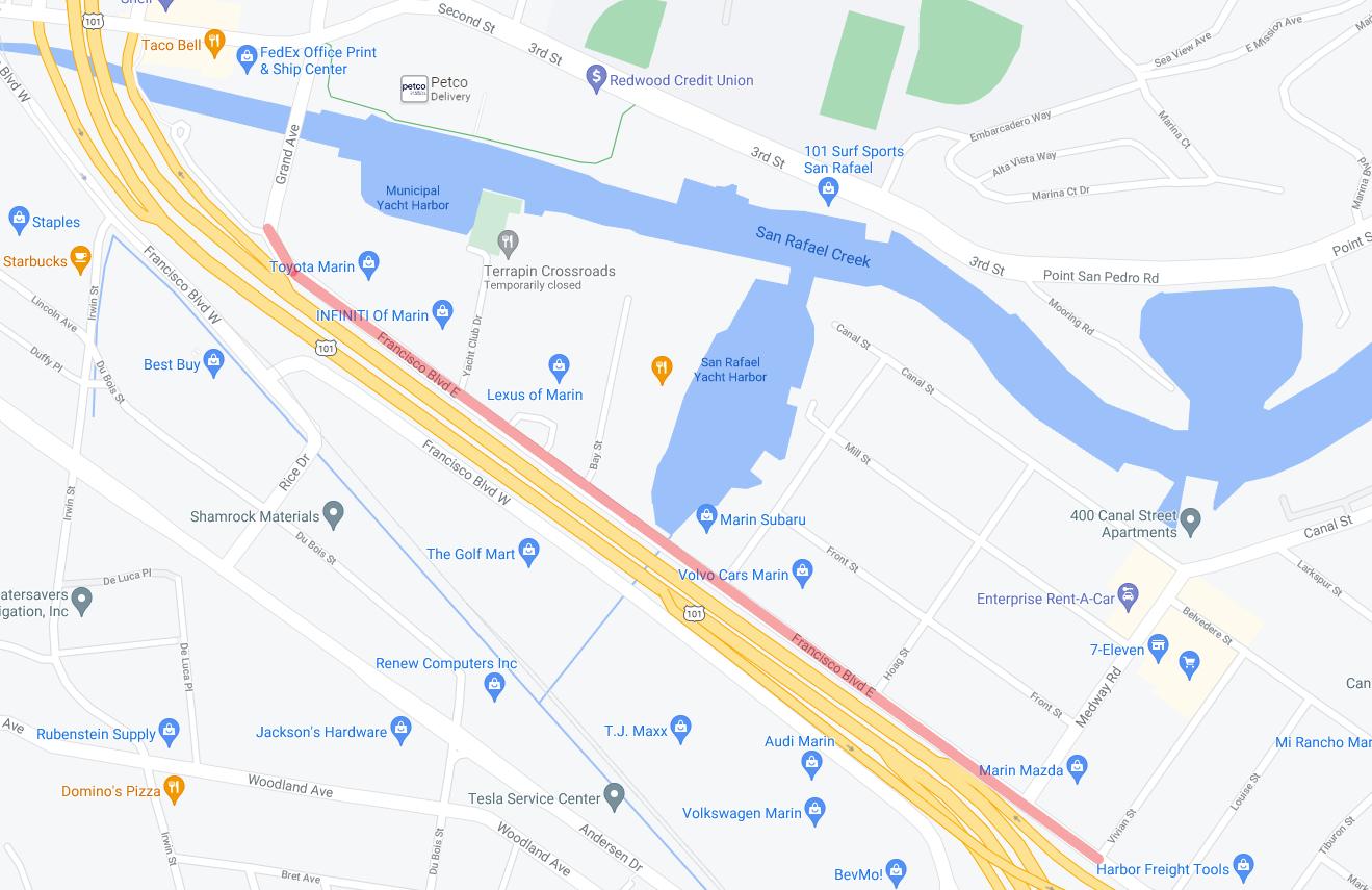 Francisco Boulevard East Lane Closure May 2021 BKF