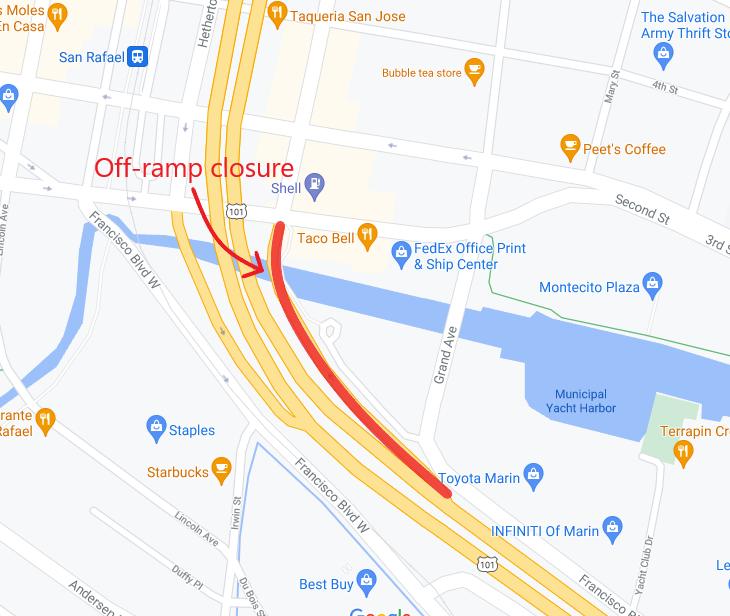 101 NB Central San Rafael Off-Ramp Bridge Replacement_Caltrans - Complete Offramp Closure - June 20 - June 21