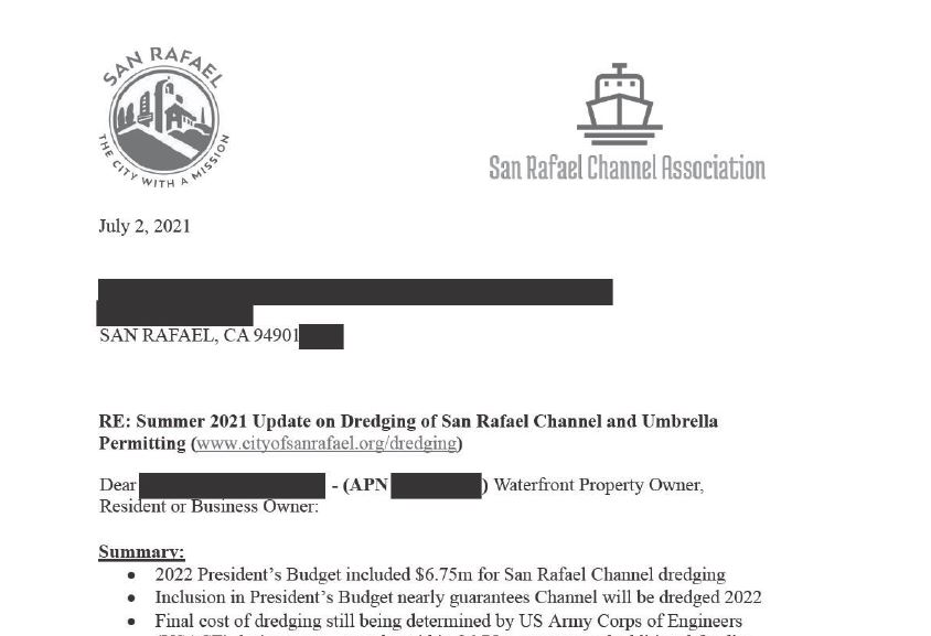 Letter re dredging and umbrella permitting