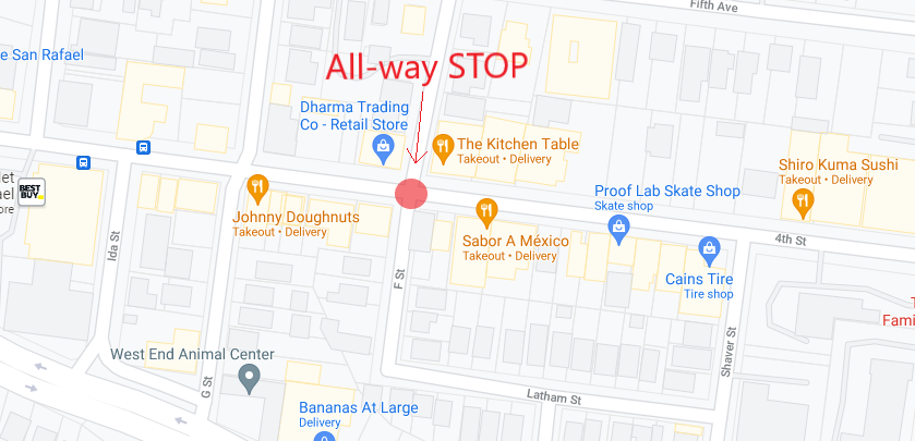 New All-Way Stop at Fourth Street-F Street in the West End